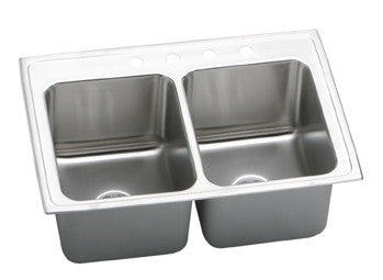 ELKAY DLR3322101 HIGHLIGHTED SATIN FINISH 18 GAUGE STAINLESS STEEL GOURMET 33X22X101/8 1 HOLE SELF-RIMMING DOUBLE BOWL KITCHEN SINK