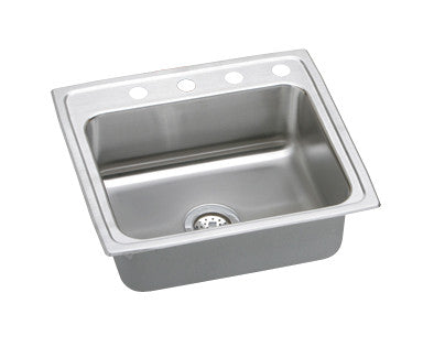 ELKAY LR25213 HIGHLIGHTED SATIN FINISH 18 GAUGE STAINLESS STEEL GOURMET 25X21X77/8 3 HOLE SELF-RIMMING SINGLE BOWL KITCHEN SINK