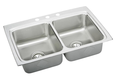 ELKAY LR33223 HIGHLIGHTED SATIN FINISH 18 GAUGE STAINLESS STEEL GOURMET 33X22X81/8 3 HOLE SELF-RIMMING DOUBLE BOWL KITCHEN SINK