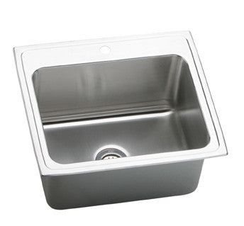ELKAY DLR2522104 HIGHLIGHTED SATIN FINISH 18 GAUGE STAINLESS STEEL GOURMET 25X22X101/8 4 HOLE SELF-RIMMING SINGLE BOWL KITCHEN SINK