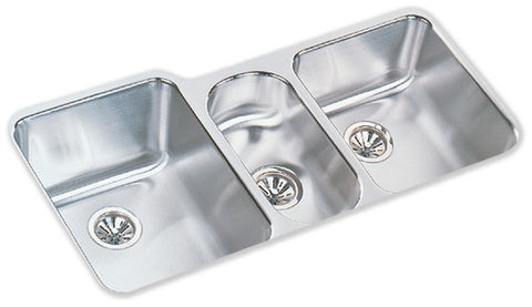ELKAY ELUH4020 HIGHLIGHTED SATIN FINISH 18 GAUGE STAINLESS STEEL HARMONY 40X20X97/8X5X71/8 UNDERMOUNT TRIPLE BOWL KITCHEN SINK