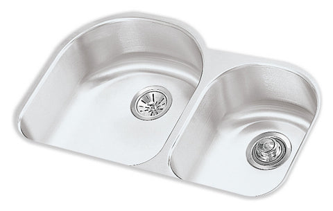 ELKAY ELUH311910R HIGHLIGHTED SATIN FINISH 18 GAUGE STAINLESS STEEL HARMONY 31X19X10X71/2 UNDERMOUNT DOUBLE BOWL KITCHEN SINK