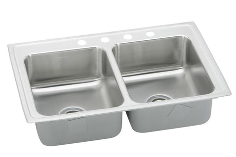 ELKAY LRQ33214 HIGHLIGHTED SATIN FINISH 18 GAUGE STAINLESS STEEL GOURMET 33X2177/8 4 HOLE SELF-RIMMING DOUBLE BOWL KITCHEN SINK WITH QUICK CLIP MOUNTING SYSTEM