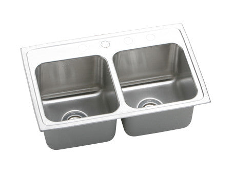 ELKAY DLR2918104 HIGHLIGHTED SATIN FINISH 18 GAUGE STAINLESS STEEL GOURMET 29X18X10 4 HOLE SELF-RIMMING DOUBLE BOWL KITCHEN SINK