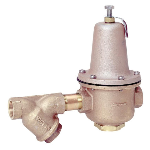 WATTS 223-S-B 0304226 1/2 TXT HIGH CAPACITY BRONZE 25-75PSI WATER PRESSURE REDUCING VALVE WITH BUILT-IN BYPASS AND STRAINER SET AT 50PSI