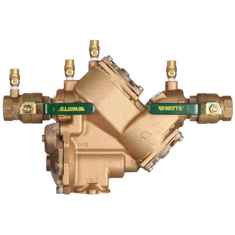 WATTS LF909M1-QT 0391012 2 TXT BRONZE REDUCED PRESSURE ZONE ASSEMBLY WITH QUARTER TURN SHUTOFF VALVES LEAD FREE