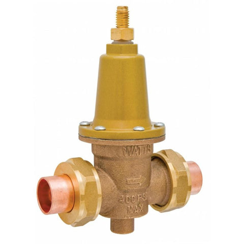WATTS X65BDU-S 0045722 2 DBL SWT UNION CARTRIDGE STYLE BRONZE 20-80PSI WATER PRESSURE REDUCING VALVE SET AT 50PSI