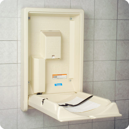BOBRICK KB101-00 22X351/2X51/4 CREAM PLASTIC SURFACE MOUNT VERTICAL BABY CHANGING STATION
