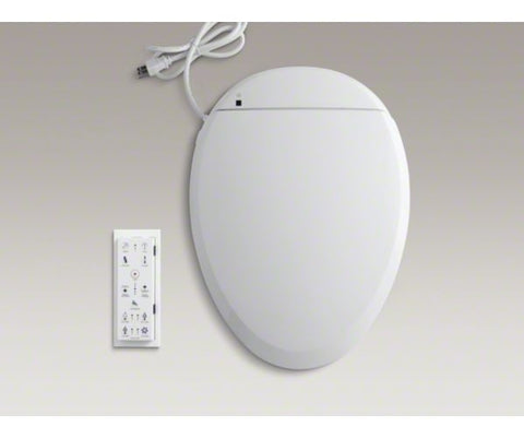 KOHLER K-4709-0 WHITE C3-200 PLASTIC CLOSED FRONT ELONGATED TOILET SEAT WITH COVER AND BIDET FUNCTIONALITY