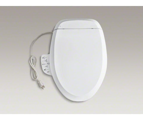 KOHLER K-4737-0 WHITE C3-125 PLASTIC CLOSED FRONT ELONGATED TOILET SEAT WITH COVER AND BIDET FUNCTIONALITY
