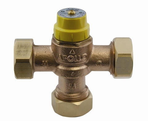 APOLLO 34BLF213T 1/2 FIP BRONZE LEAD FREE 150PSI 85-120 DEGREE DUAL PURPOSE MIXING VALVE ASSE 1070 CERTIFIED