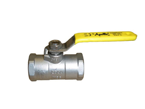 APOLLO 9610701 1-1/2 FIP STAINLESS STEEL 150SWP/2000PSI UNIBODY STANDARD PORT BALL VALVE