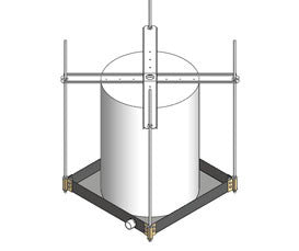 HOLD 50-SWHP-WM WALL OR CEILING MOUNT SUSPENDED PLATFORM SUPPORT WATER HEATERS UP TO 50 GALLONS 600 POUNDS 26 1/2IN X PAN 1IN WELDED STEEL DRAIN FITTING