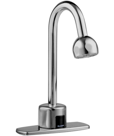 SLOAN 3315104 EBF750 POLISHED CHROME OPTIMA PLUS DECK MOUNT 4 CENTERSET GOOSENECK LAVATORY FAUCET WITH 2.2 GALLONS PER MINUTE LAMINAR FLOW SPRAY HEAD BATTERY POWERED SENSOR ACTIVATED ADA COMPLIANT LEAD FREE