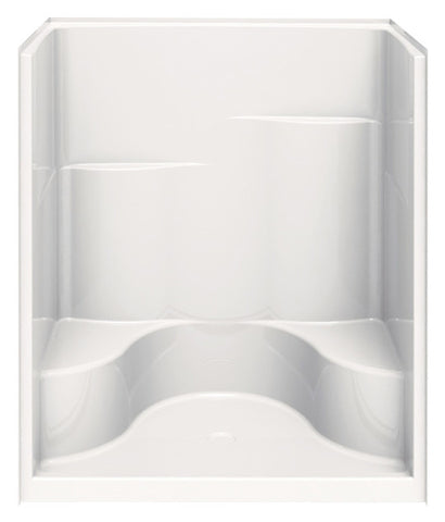 AQUATIC 1603STCR-WH WHITE BUILDERS CHOICE GELCOAT CENTER DRAIN SHOWER 60X35X76 WITH SMOOTH TILE WALLS TWIN BACK WALL SHELVES RIGHT HAND CORNER SEAT AND ACRYLIC GRAB BAR