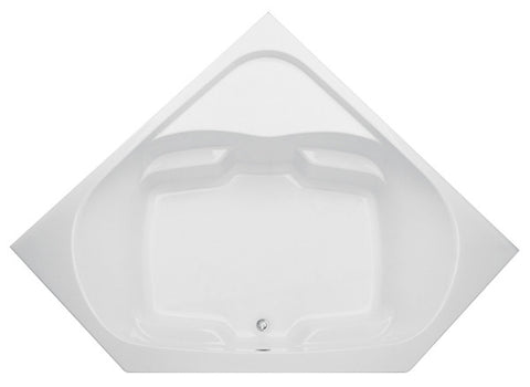 AQUATIC 2600CCS-WH WHITE EVERYDAY GELCOAT CENTER FRONT DRAIN CORNER BATHTUB 60X28X24-1/2 WITH INTEGRAL FLANGE AND SINGLE CORNER SHELF