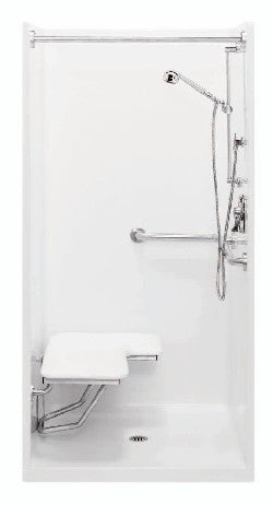 AQUATIC 1363BFSC WHT ACCESSIBLE GELCOAT SHOWER CTR DRN W/ HORIZ L-SHAPED GRAB BAR & FOLD-UP RH SEAT 36X36X75