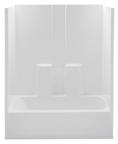 AQUATIC 260330ML-WH WHITE EVERYDAY GELCOAT LEFT HAND ABOVE FLOOR ROUGH BATHTUB AND SHOWER 60X30X74 WITH SMOOTH WALLS TWIN BACK WALL SHELVES AND ACRYLIC GRAB BAR