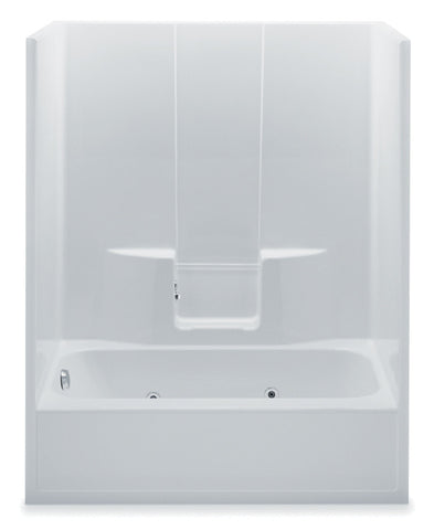 AQUATIC 6036SGL-WH WHITE EVERYDAY GELCOAT LEFT HAND BATHTUB AND SHOWER 60X34-1/2X76-1/2 WITH SMOOTH WALLS AND TWIN BACK WALL SHELVES
