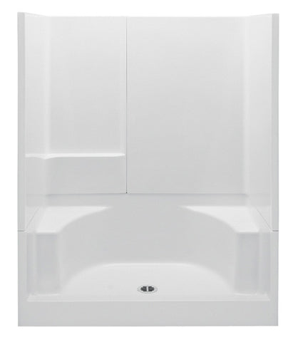 AQUATIC 16033P-WH WHITE BUILDERS CHOICE GELCOAT 3 PIECE CENTER DRAIN SHOWER 60X34X72 WITH SMOOTH WALLS SINGLE BACK WALL SHELF AND TWIN CORNER SEATS