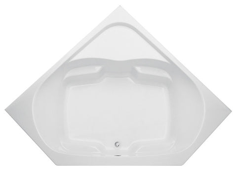 AQUATIC 2600CC-WH WHITE EVERYDAY GELCOAT CENTER FRONT DRAIN CORNER BATHTUB 60X60X22 WITH INTEGRAL FLANGE AND SINGLE CORNER SHELF