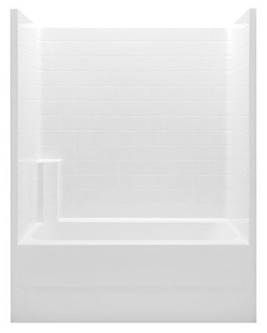 AQUATIC 2603CTWMR-WH WHITE EVERYDAY GELCOAT RIGHT HAND ABOVE FLOOR ROUGH BATHTUB AND SHOWER 60X32X75 WITH TEXTURED TILE WALLS TWIN BACK WALL SHELVES AND ACRYLIC GRAB BAR
