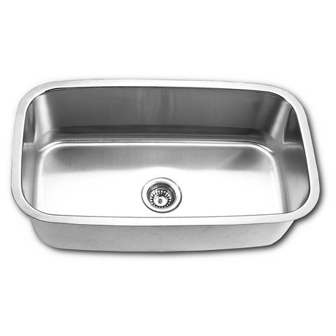 LUXART LXUS773 BRUSHED SATIN 16 GAUGE STAINLESS STEEL 311/2X181/2X10 UNDERMOUNT SINGLE BOWL KITCHEN SINK