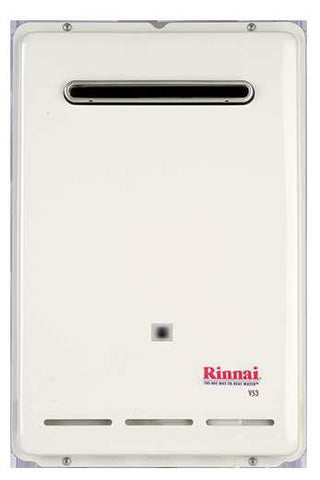 RINNAI V53eP 5.3 GPM 120K BTU ENERGY STAR LIQUID PROPANE GAS EXTERNAL TANKLESS RESIDENTIAL/ EXTERNAL WATER HEATER 12 YEAR WARRANTY 21 HEIGHT 14 WIDTH 7 DEPTH