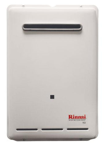 RINNAI RV53eP 5.3 GPM 120K BTU ENERGY STAR LIQUID PROPANE GAS EXTERNAL TANKLESS RESIDENTIAL/ INTERNAL WATER HEATER 12 YEAR WARRANTY 20.9 HEIGHT 13.8 WIDTH 6.7 DEPTH