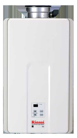 RINNAI V75iN 7.5 GPM ULNOX 180K BTU ENERGY STAR NATURAL GAS INTERNAL TANKLESS RESIDENTIAL/ INTERNAL WATER HEATER 12 YEAR WARRANTY 23 HEIGHT 14 WIDTH 9 DEPTH