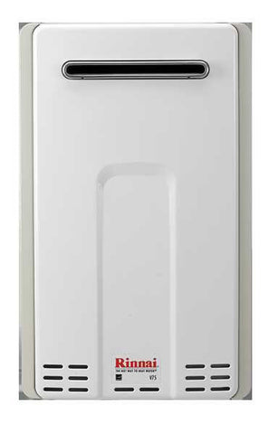 RINNAI V75eP 7.5 GPM ULNOX 180K BTU ENERGY STAR LIQUID PROPANE GAS EXTERNAL TANKLESS RESIDENTIAL/ EXTERNAL WATER HEATER 12 YEAR WARRANTY 23 HEIGHT 14 WIDTH 9 DEPTH