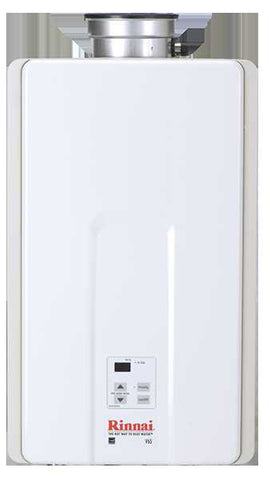 RINNAI V65iN 6.5 GPM ULNOX 150K BTU ENERGY STAR NATURAL GAS INTERNAL TANKLESS RESIDENTIAL/ INTERNAL WATER HEATER 12 YEAR WARRANTY 23 HEIGHT 14 WIDTH 9 DEPTH