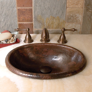 NATIVE TRAILS CPS239 ANTIQUE COPPER 15-1/2X12X5 ROLLED BABY CLASSIC 18 GAUGE COPPER DROP-IN BATHROOM SINK WITH 1-1/2 DRAIN