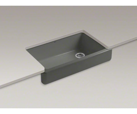 KOHLER K-6488-58 THUNDER GREY CAST IRON WHITEHAVEN 3511/16X219/16X95/8 SELF-TRIMMING SHORT APRON SINGLE BOWL KITCHEN SINK