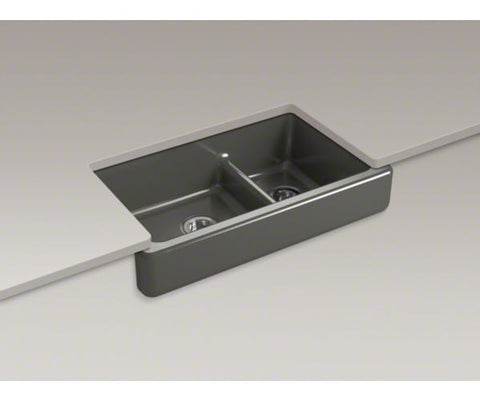 KOHLER K-6426-58 THUNDER GREY ENAMELED CAST IRON WHITEHAVEN 351/2X219/16X95/8 0 HOLE SHORT UNDERMOUNT APRON SINK