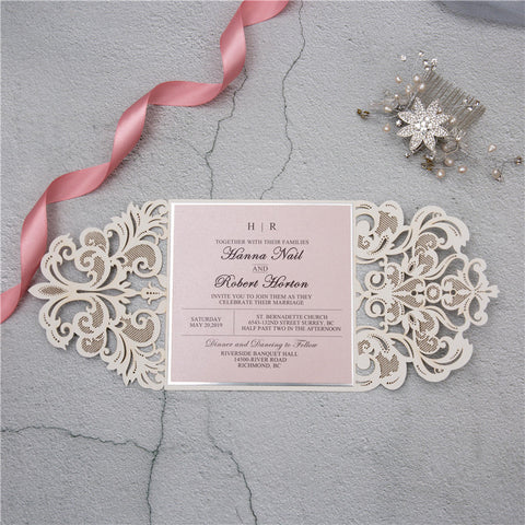 Laser Cut Silver Wedding Invitation