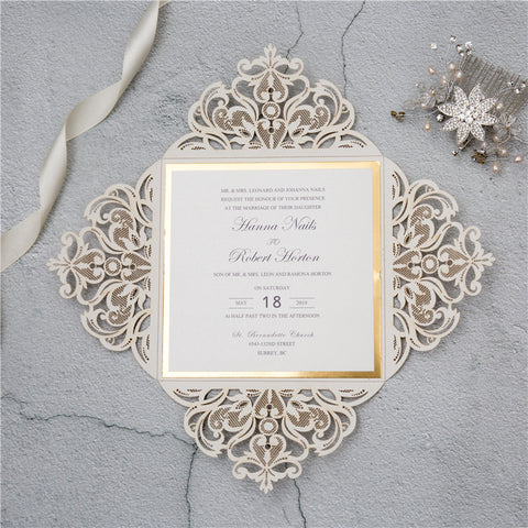 Laser Cut Lace Wedding Invitation With Gold Glitter