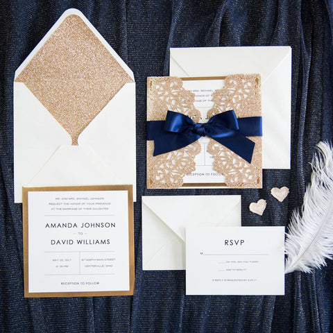 Laser Cut Lace Wedding Invitation With Gold Glitter Navy Blue Ribbon