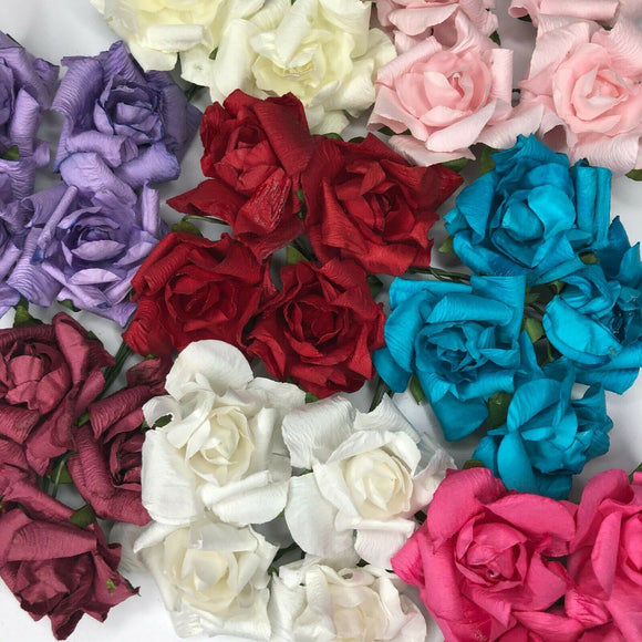 Shabby Paper Roses 4cm Wired Stem Craft Embellishments Arts Crafts DIY