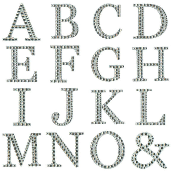 Large Self-Adhesive 5cm Diamante & Glitter Single Letter Alphabet Sticker Craft