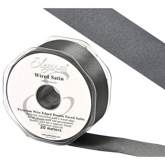 Eleganza 25mm Premium Double Faced Satin Wired Ribbon 20m Roll - Graphite-The Creative Bride
