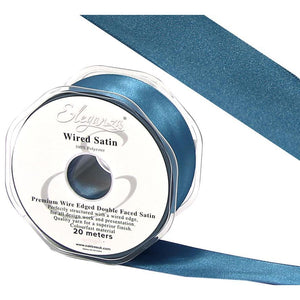 Eleganza 25mm Premium Double Faced Satin Wired Ribbon 20m Roll - Eucalyptus-The Creative Bride