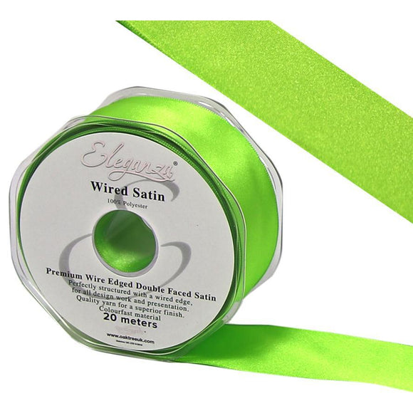 Eleganza 25mm Premium Double Faced Satin Wired Ribbon 20m Roll - Lime Green-The Creative Bride