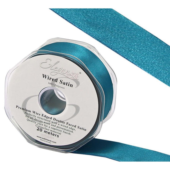 Eleganza 25mm Premium Double Faced Satin Wired Ribbon 20m Roll - Teal-The Creative Bride