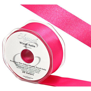 Eleganza 38mm Premium Double Faced Satin Wired Ribbon 20m Roll - Fuchsia-The Creative Bride