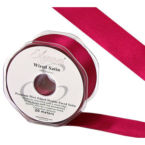 Eleganza 25mm Premium Double Faced Satin Wired Ribbon 20m Roll - Hot Pink-The Creative Bride