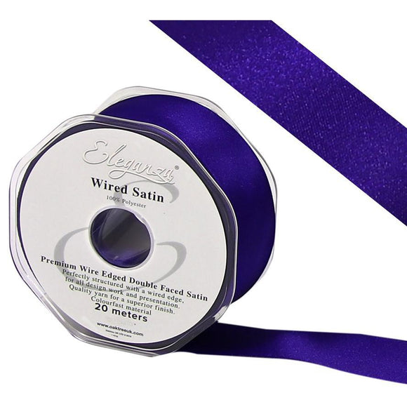 Eleganza 25mm Premium Double Faced Satin Wired Ribbon 20m Roll - Purple-The Creative Bride