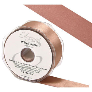 Eleganza 38mm Premium Double Faced Satin Wired Ribbon 20m Roll - Deep Rose Gold-The Creative Bride