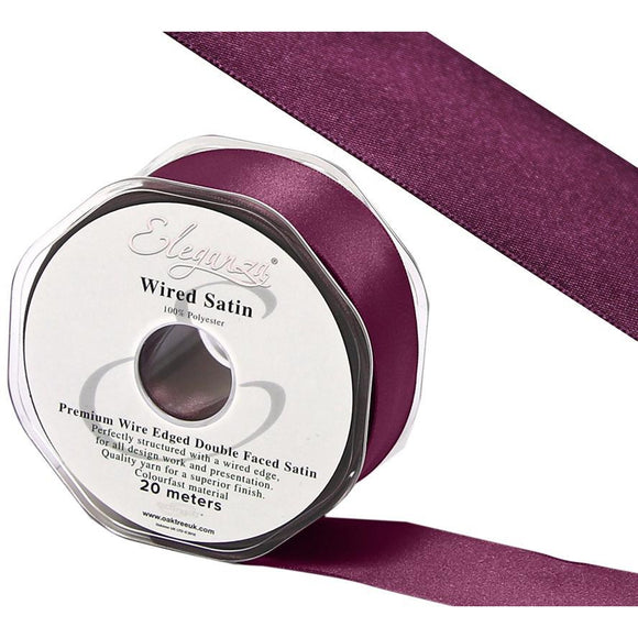 Eleganza 38mm Premium Double Faced Satin Wired Ribbon 20m Roll - Vintage Rose-The Creative Bride