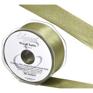 Eleganza 38mm Premium Double Faced Satin Wired Ribbon 20m Roll - Olive-The Creative Bride